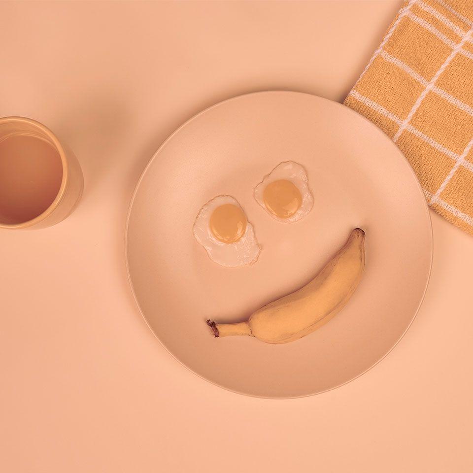 prato montado com formato de sorriso